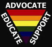 an upside down rainbow colored triangle with the words educate support advocate