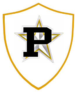 drawing of a shield with a large P and star in the middle