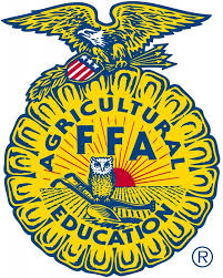 yellow circle with american eagle on top, and an owl in the middle, with the title FFA agricultural education