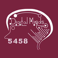drawing of a head with a digital brain with the title Digital minds and the number 5458