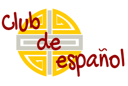 a banner with the words Club de Espanol and a stylized sun behind